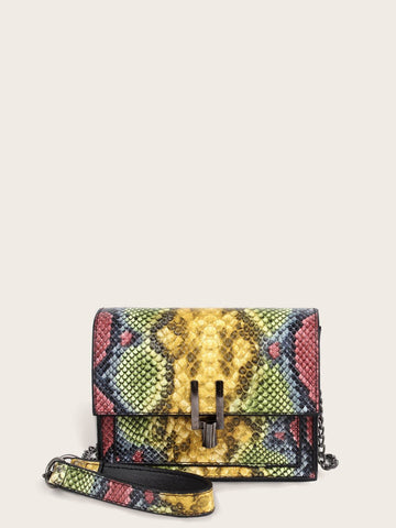 Snakeskin Animal Scarf Print Flap Chain Bag
