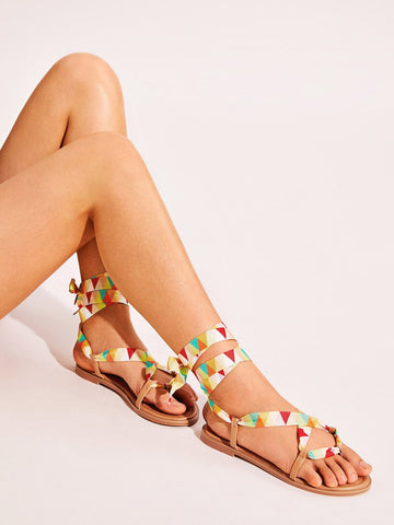 Toe Post Geometric Print Tie Leg Sandals