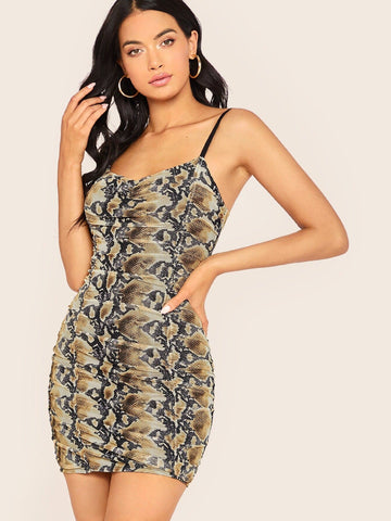 Sleeveless Spaghetti Strap Python Print Ruched Mini Dress