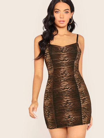Sleeveless Spaghetti Strap Tiger Print Ruched Mini Dress