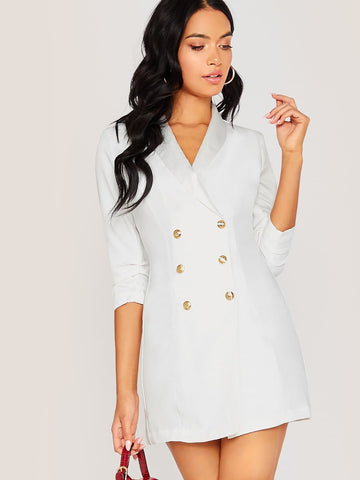 White Double Breasted Shawl Collar Longline Blazer