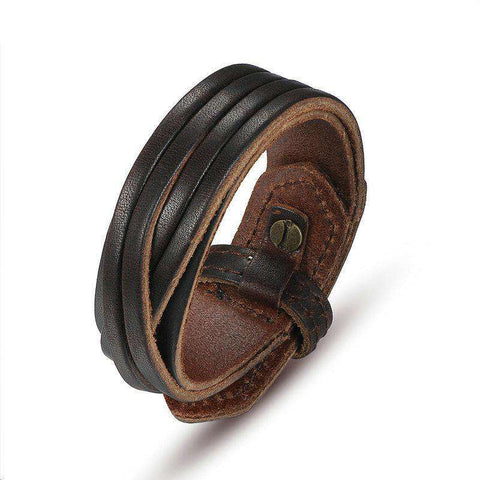 Genuine Leather Vintage Brown Unisex Bracelet