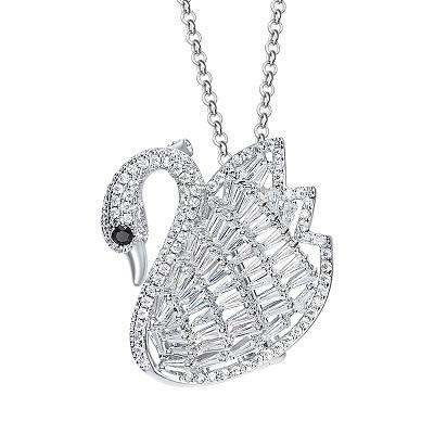 High-end Swan shape Brooch with AAA cubic Zircon Stone