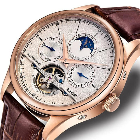 Automatic Mechanical Tourbillon Sport Leather Business Retro Wristwatch