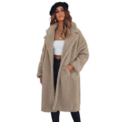 Long Sleeved Lapel Collar Loose Oversize Furry Coat