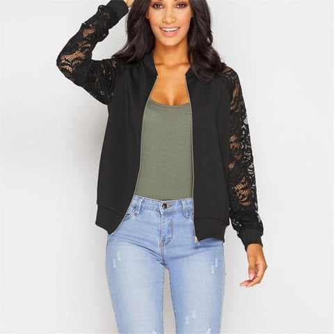 Lace Patchwork Long Sleeve Hollow Out Zipper Jacket