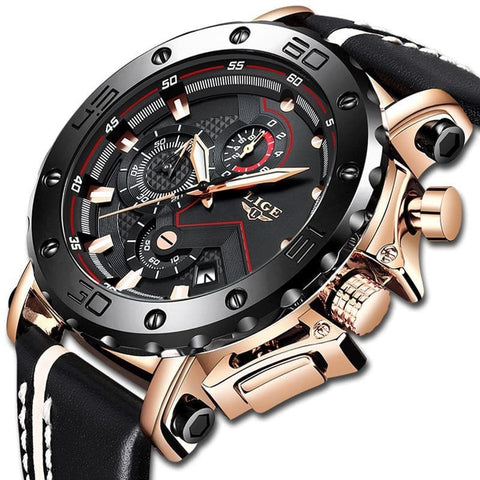 Luxury Big Dial Military Quartz Waterproof Sport Chronograph  Leather Watch