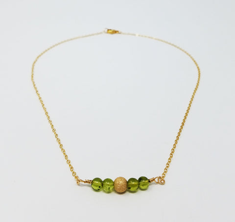 The Sage Necklace - Peridot & Gold Bead Necklace