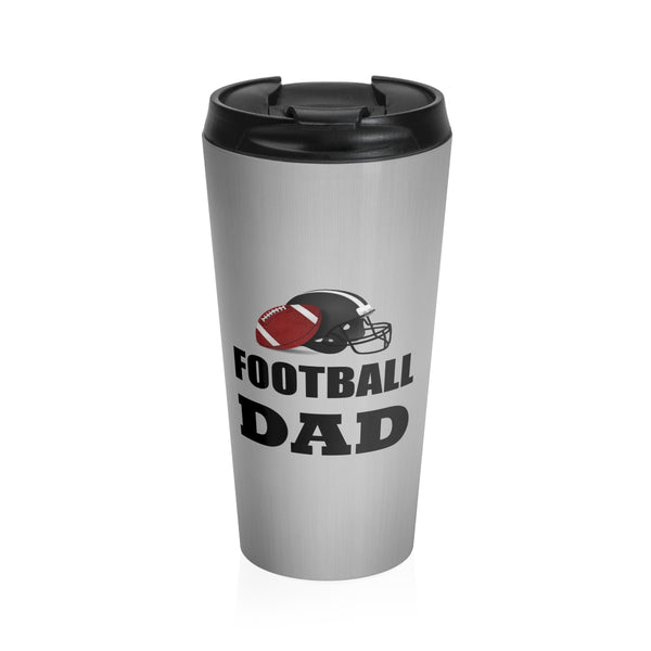 Football Dad Stainless Steel Travel Mug, Silver