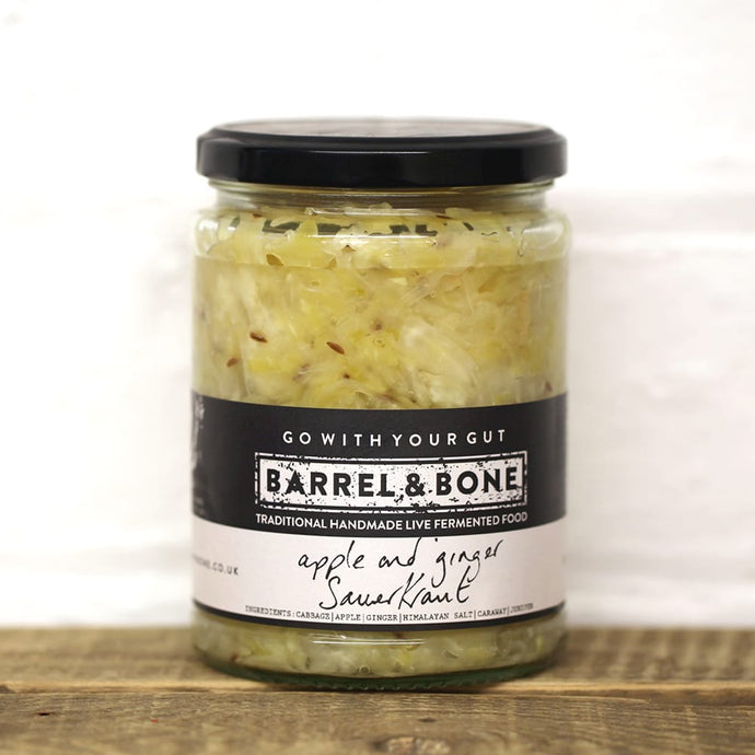 Live fermented Apple & Ginger sauerkraut. Fresh, bright and tangy flavour with caraway & juniper.