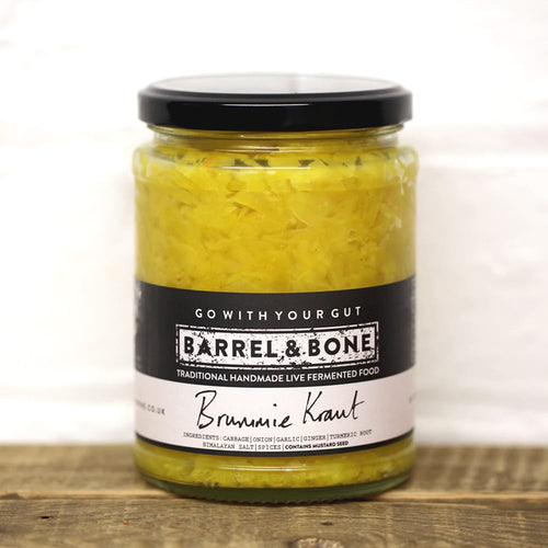 Live fermented Brummie Sauerkraut.  Bright yellow curry Kraut with fresh turmeric, ginger & garlic.