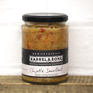 Chipotle Sauerkraut 500g Live Fermented.  Deep smoky, savoury flavour with a good punch of heat.