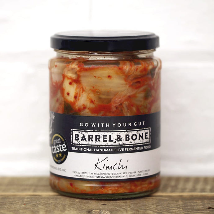 Kimchi 475g, Live Fermented.  Spicy & slightly sour with a deep umami flavour & a hint of smokiness