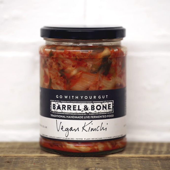 Vegan Kimchi 475g, live fermented.  Spicy & slightly sour with a hint of smokiness and subtle fizz.