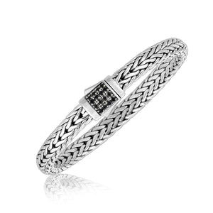 Sterling Silver Men's Braided Bracelet with Black Sapphire Stones