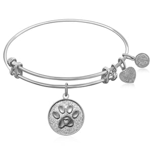 Expandable Bangle in White Tone Brass with Paw Symbol