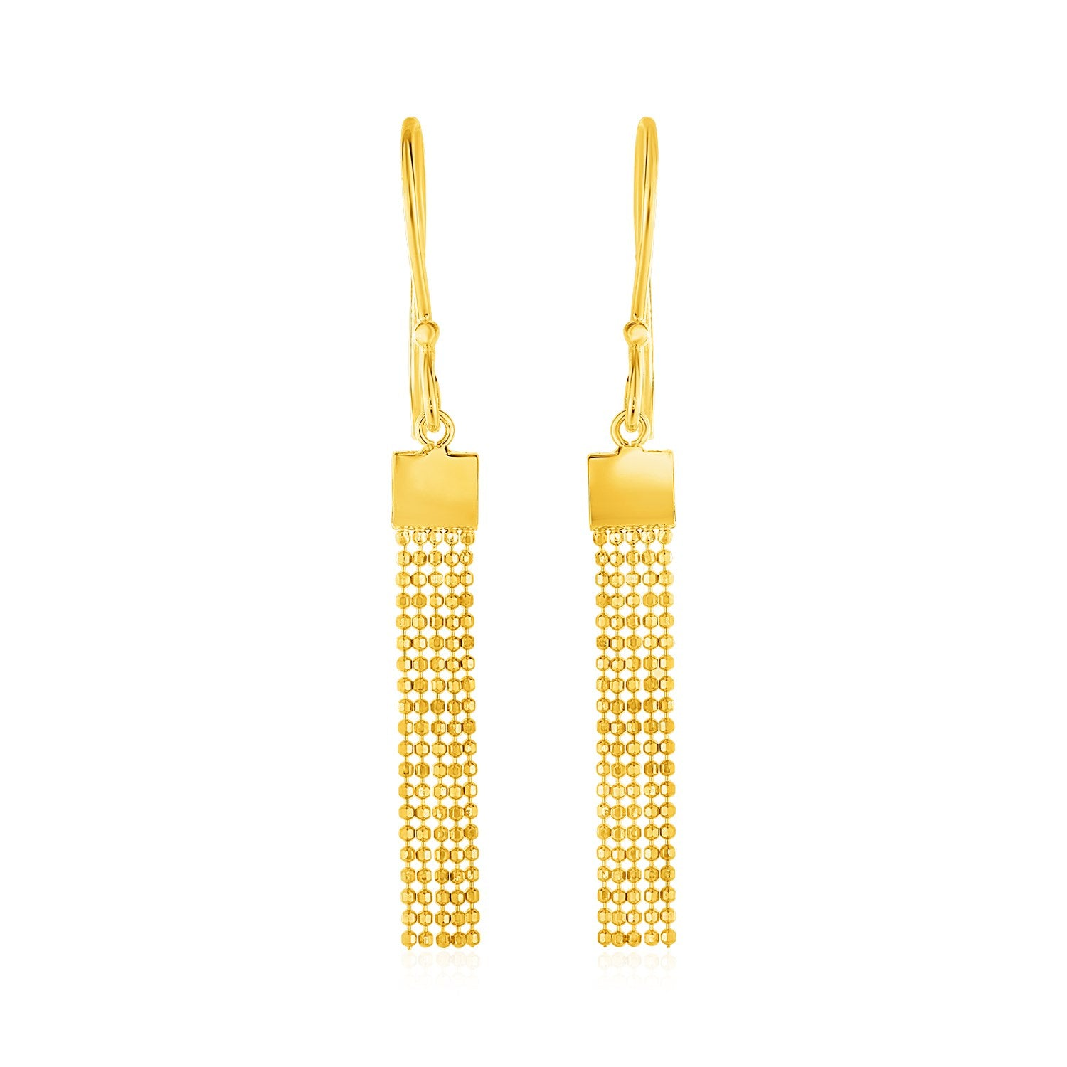 Earrings with Square Chain Tassels in 14K Yellow Gold