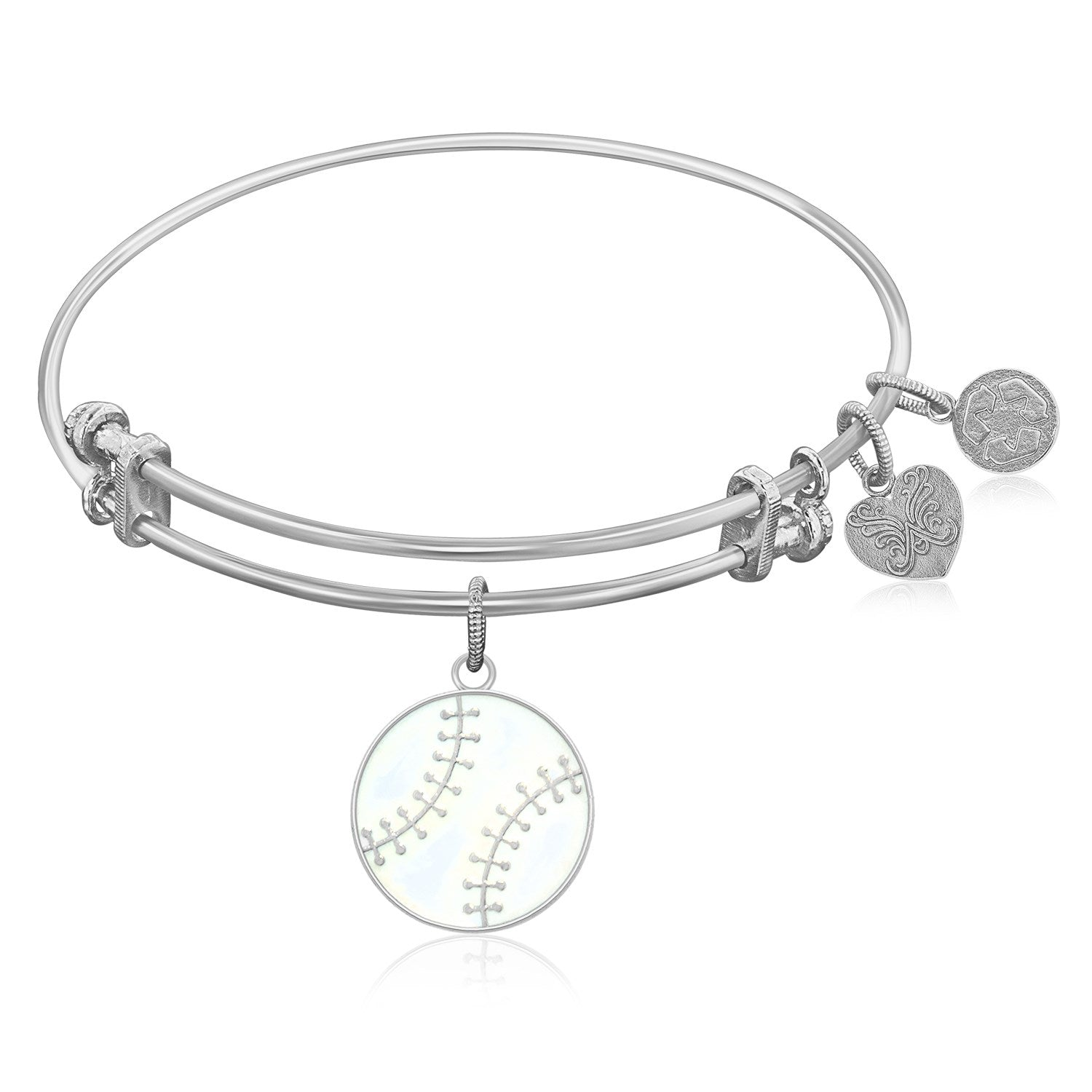Expandable Bangle in White Tone Brass with Baseball Symbol