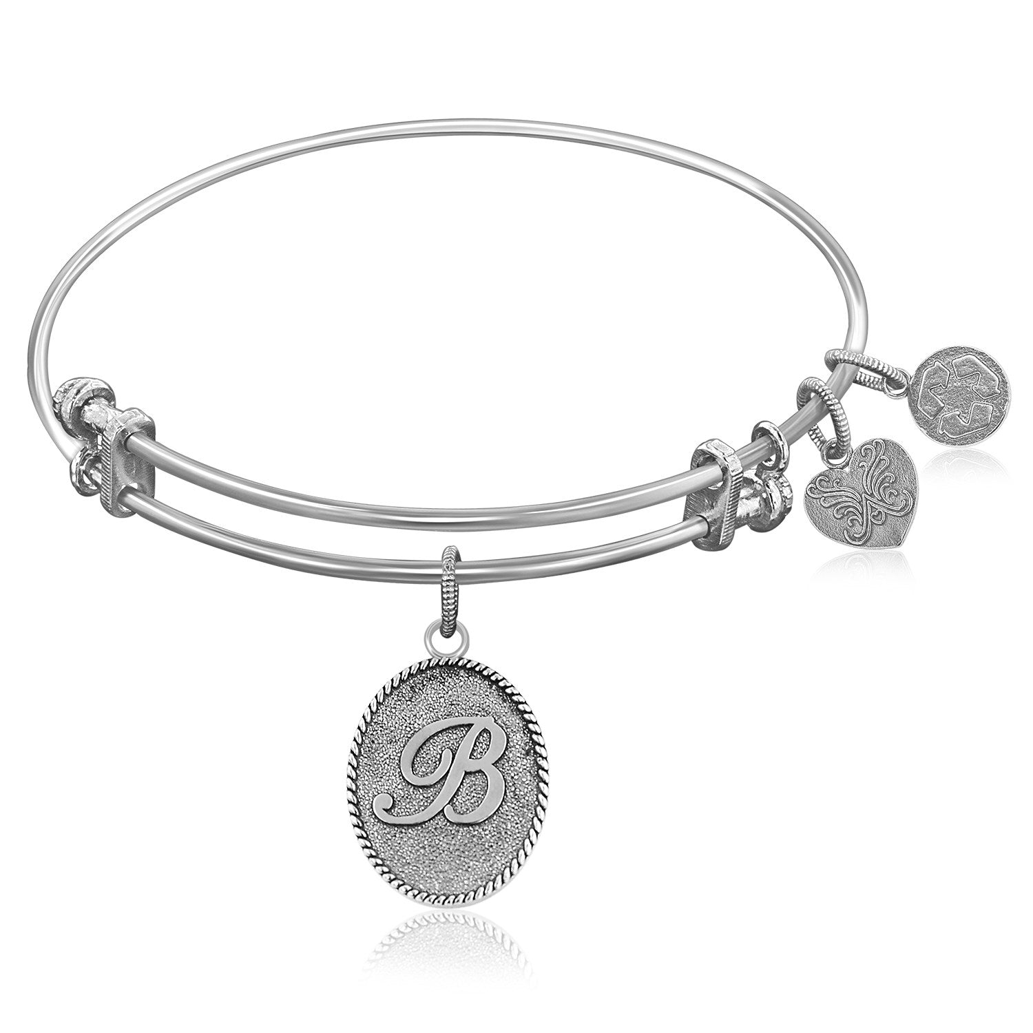 Expandable Bangle in White Tone Brass with Initial B Symbol