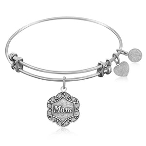 Expandable Bangle in White Tone Brass with Mom Symbol