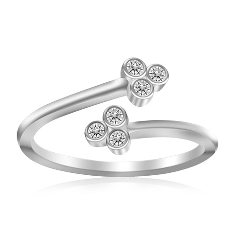 Sterling Silver Rhodium Plated Flower Themed Cubic Zirconia Toe Ring - Uniquepedia.com