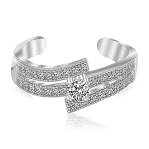 Sterling Silver Rhodium Plated White Cubic Zirconia Studded Dual Line Toe Ring - Uniquepedia.com