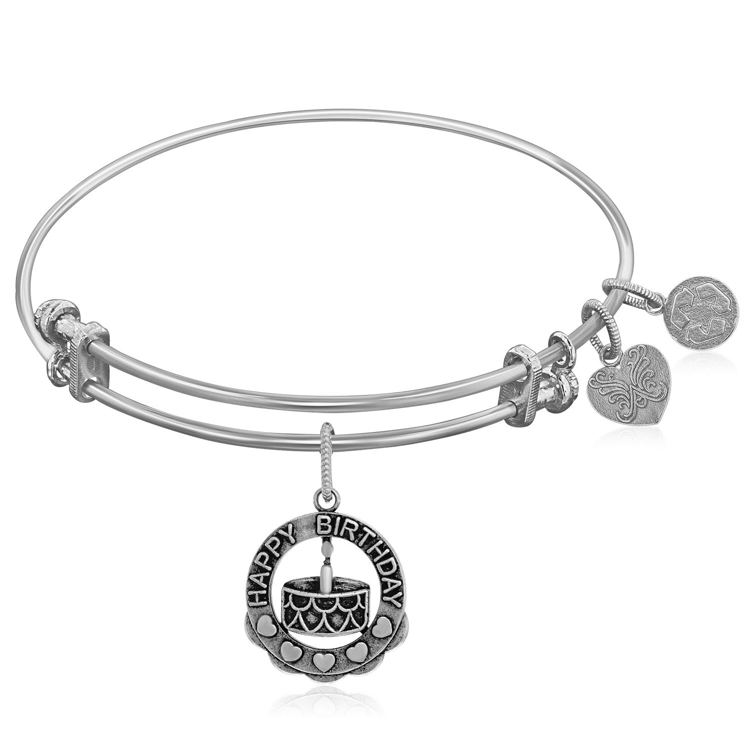 Expandable White Tone Brass Bangle with Happy Birthday Symbol