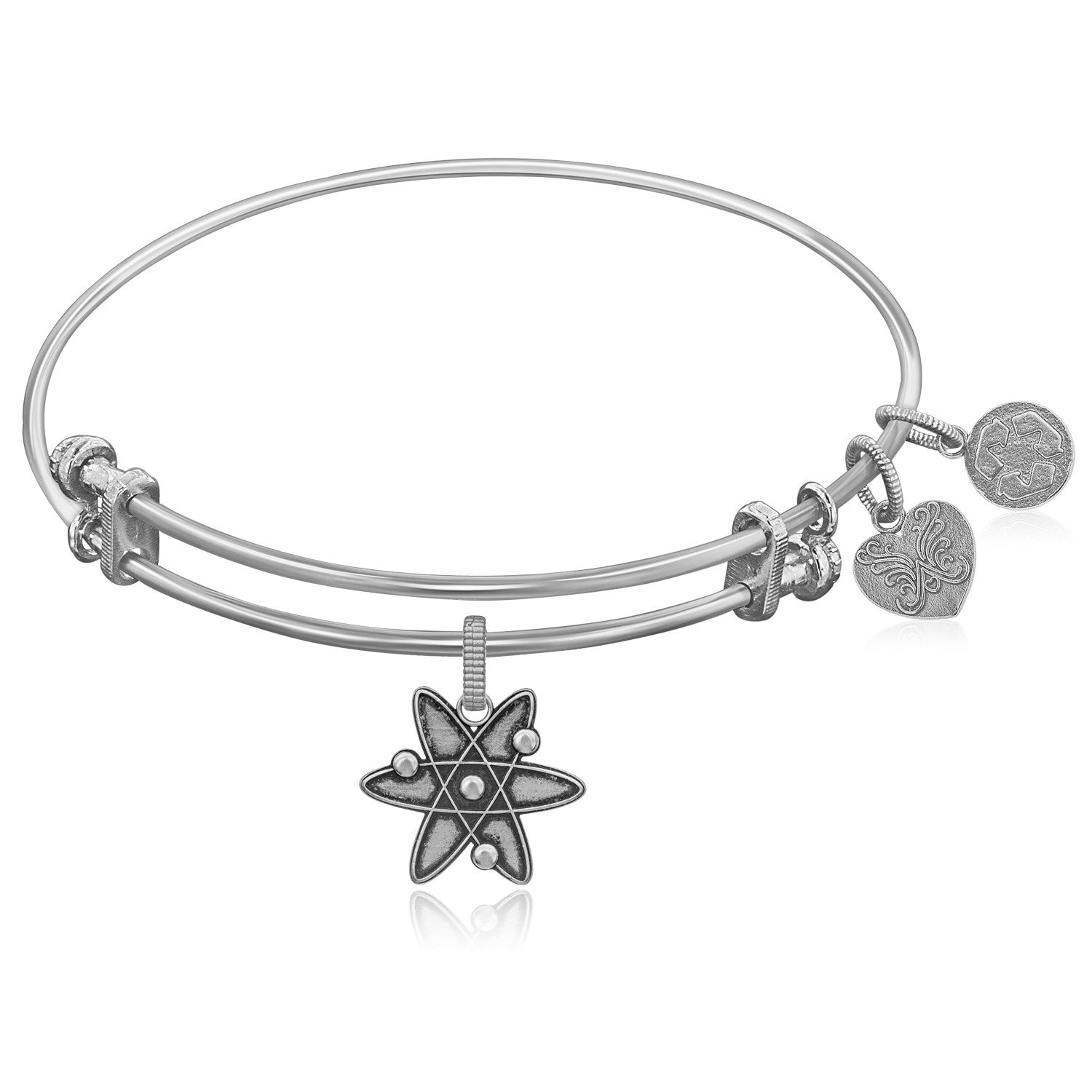 Expandable White Tone Brass Bangle with ATOM Symbol