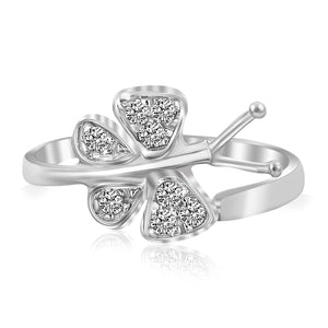 Sterling Silver Rhodium Finished Butterfly Toe Ring with White Cubic Zirconia - Uniquepedia.com