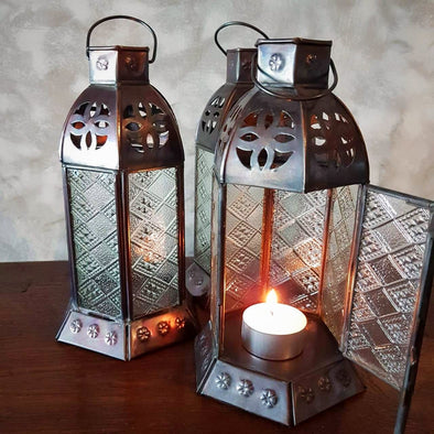 Small Lantern Style Antique Brass Candle Holders