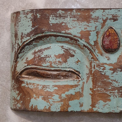 Antique Wooden Buddha Mask Wall Hanging