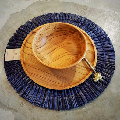 Natural & Blue Grass Straw Round Dining Placemats