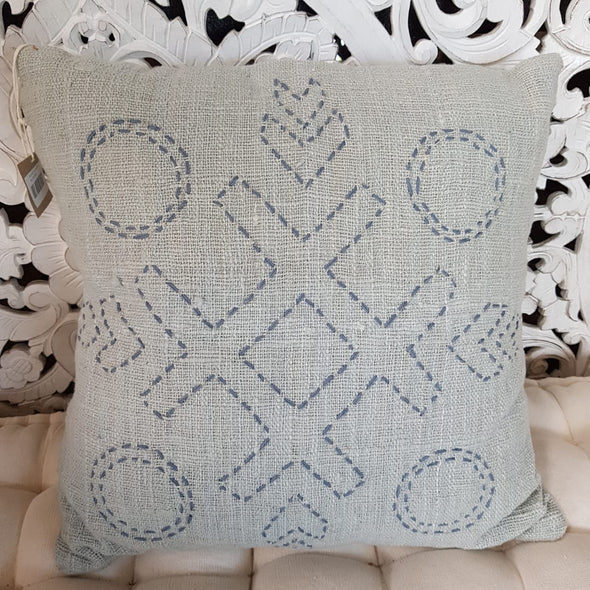 Nought's & Crosses Stitch Pattern Raw Cotton Cushions