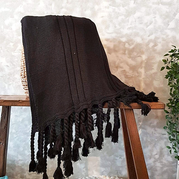Black Knitted Woollen Blanket With Matching Fringe - Canggu & Co