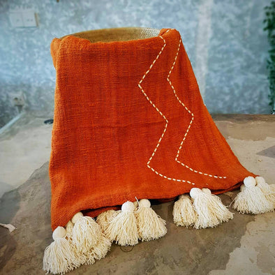 Orange Raw Cotton Throw With Zigzag Stitch Pattern