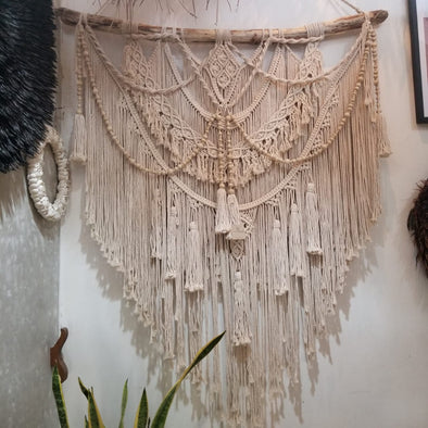 Large Woven Triangular Macrame Wall Hanging