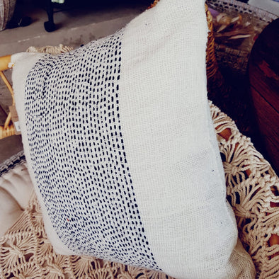 Black Stitch Line Pattern White Raw Cotton Cushion - Canggu & Co