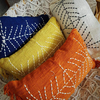 Arrow Stitch Motif Raw Cotton Cushions - Canggu & Co