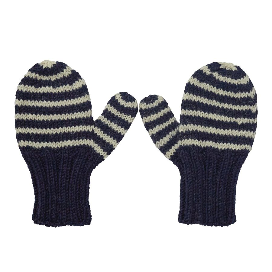Adventure Mittens Navy Stripe