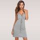 New Summer Nightwear Women Sexy V-Neck Lace Trim Drawstring Nightdress