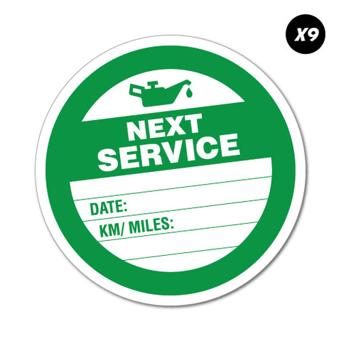 9X Next Service Due Round Sticker