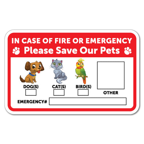 Please Save Our Pets Emergency Sticker