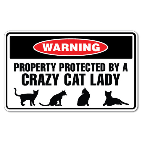 Warning Protected By Crazy Cat Lady Sticker