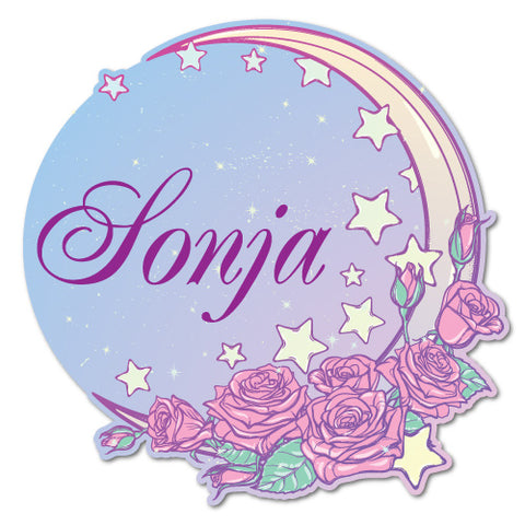 Custom Name Rose Moon Fantasy Home Sticker