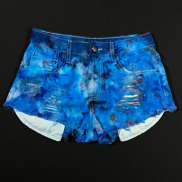Women's 0 Distressed Denim Tie Dye Shorts