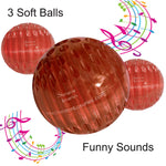 Odd Dog Ball Toy -3 Soft Red Balls Play 2 Funny Sounds with No Batteries and Last longtime. Make Wacky Chewing Sounds and Teasing Clapping Sounds