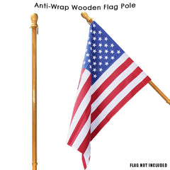 Wooden Flag Pole with Anti-Wrap Sleeve (Case of 6)