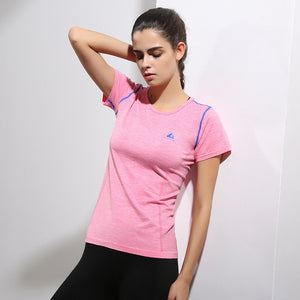 Besgo Women's Quick Dry Sport Short Sleeve T Shirt Summer Style Quick Dry Lightweight Slim Woman Yoga Shirt Elastic Running Top