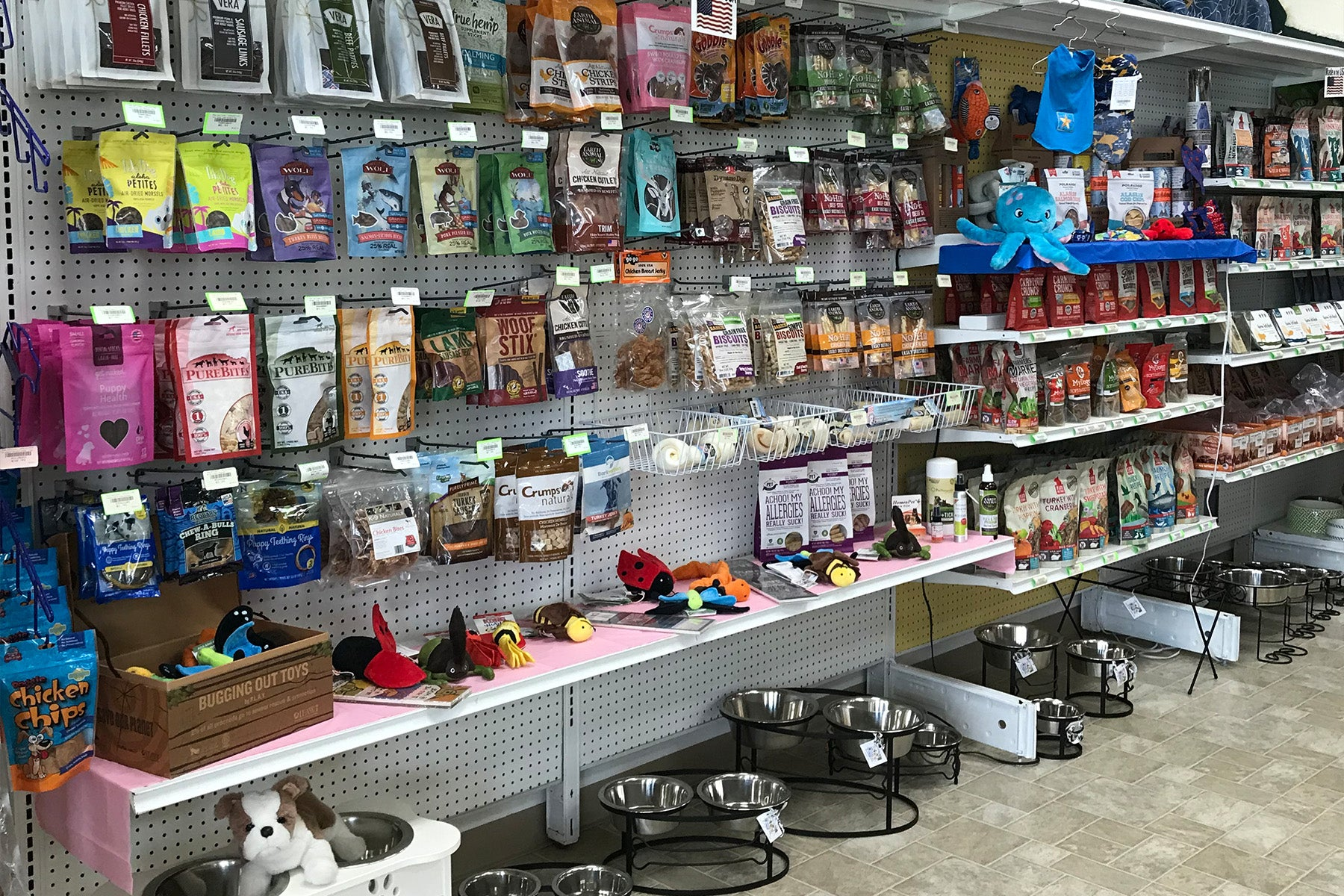 Store shelf with dog treats and supplies