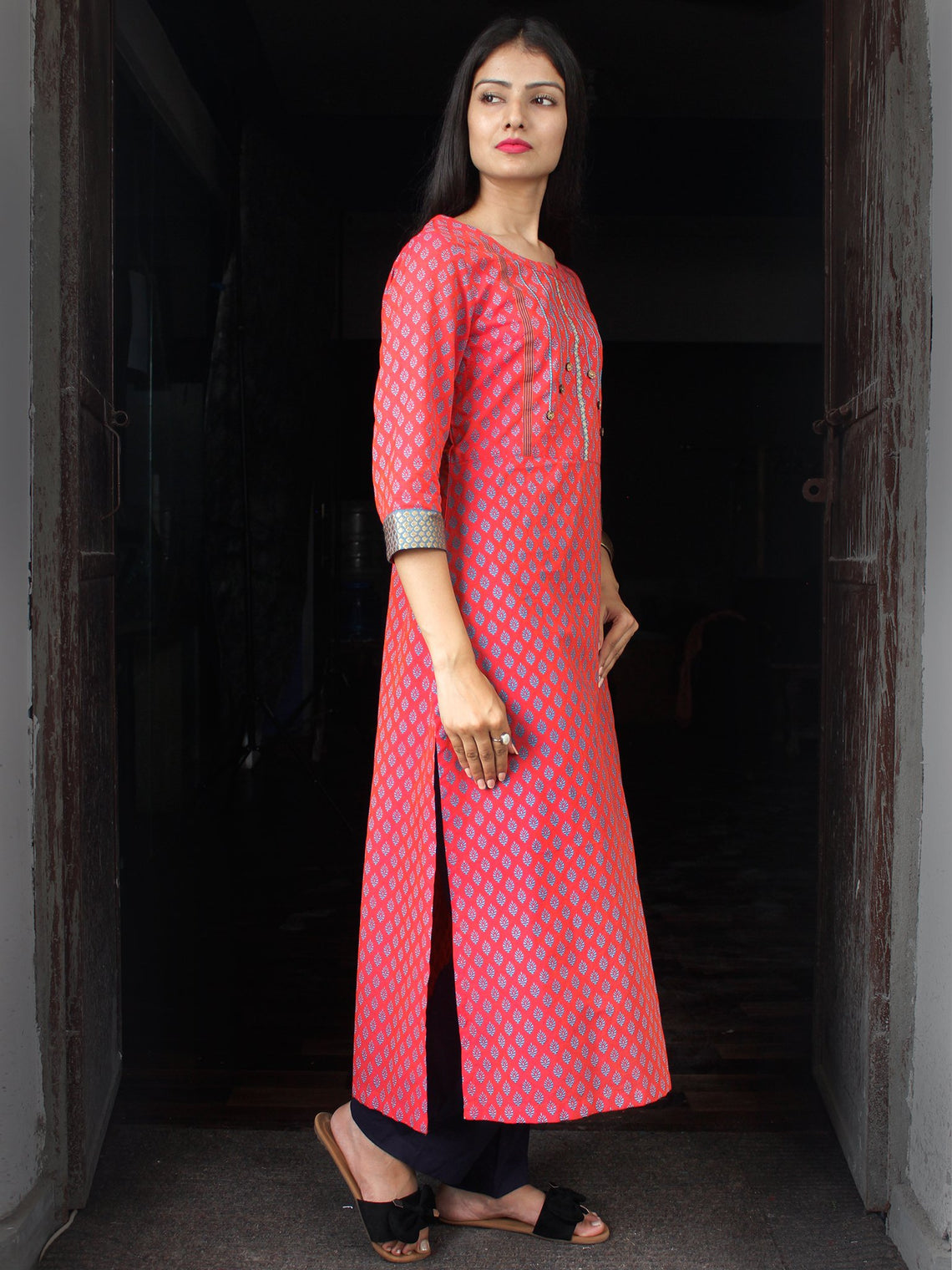 Coral Sky Blue South Handloom Cotton Kurta With Embroidery Details - K163FXXX